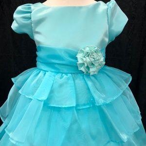Kids Girls aqua 3/4 sleeve cupcake dress